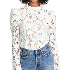 Maje Puff Sleeve Lace Long Sleeve Blouse